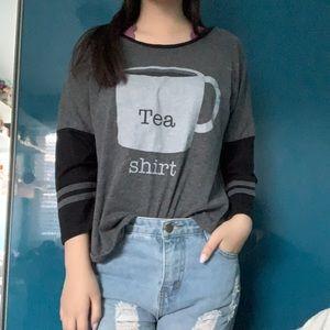 """Tea shirt"" graphic 3/4 sleeve gray shirt"